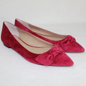 Ann Taylor Burgundy Red Camryn Suede Bow Flats